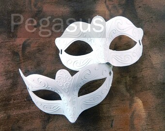 WHITE classic mask (2 package option)(M2) Ballroom masquerade mask for a Mardi Gras, Halloween,Wedding,Prom,New Years