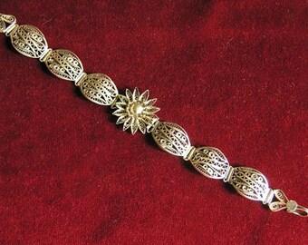 Silver filigree floral bracelet
