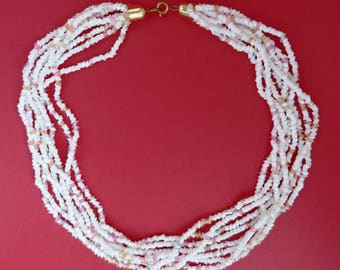 Vintage White Beaded Necklace - Multistrand Tube Bead Necklace