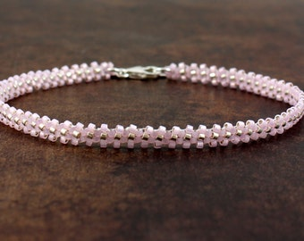 Pink Chain Anklet - Bead Ankle Bracelet - Beaded Jewelry - Seed Bead Foot Jewelry - Summer Anklet - Beach Jewelry