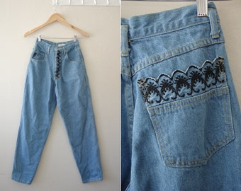 1990s Switch USA Contempo Casuals High Waisted Embroidered Jeans Size 7