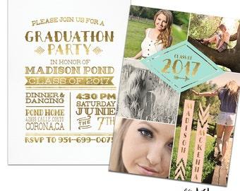 Gold Graduation Party Invitation & Graduation Announcement, Graduation Invitation, Graduation Photo Card, Printable Invitation or Printed.