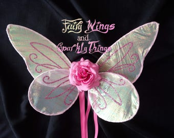 Light pink Iridescent baby or toddler sized butterfly fairy wings perfect for birthday portraits or Halloween costume -Ready to ship