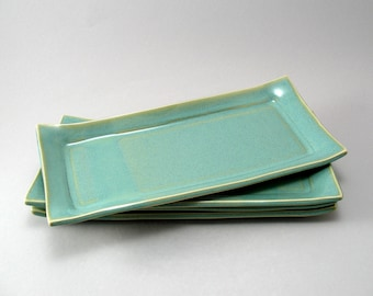 Sushi Plates-Set of 4-Handmade-White Stoneware-Pottery Plate-Tableware-Pearl Green Glaze