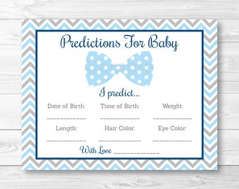 Bow Tie Baby Predictions Card Baby Shower Game / Chevron / PRINTABLE INSTANT DOWNLOAD A290