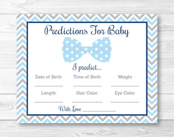 Bow Tie Baby Predictions Card Baby Shower Game Chevron