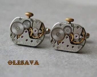 SALE...Watch Movement Cufflinks - Steampunk Cufflinks . Steampunk jewelry ,  Vintage Clockwork Watch Movement CuffLinks