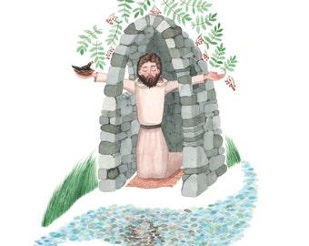 St. Kevin And The Blackbird, Seamus Heaney Poem, St. Kevin poem, Celtic, Glendalough, Blackbird illustration, Irish Saint, Monk