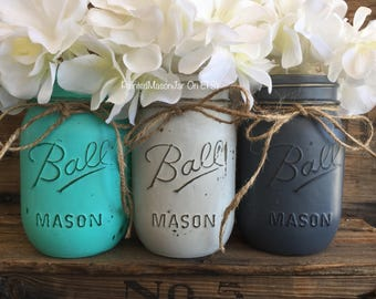 Painted Mason Jars, Mason Jars, Flower Vases, Centerpieces