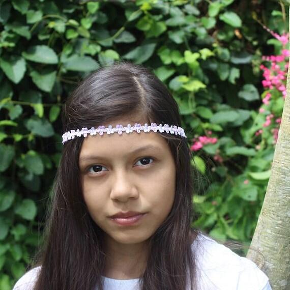 Pink Headband, Bohemian Headband, Adult Boho Headband, Pink Boho Headband, White Girl Headband, Forehead Headband, Halo Headband