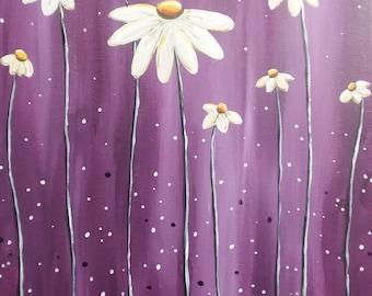 Purple Daisies, painting, handmade, acrylic painting, daisy painting, daisy art, painting of daisies, plum daisies, white daisies