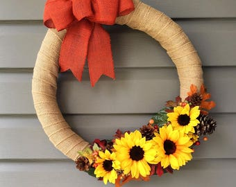 Fall Wreath for Front Door, Burlap Wreath, Burlap Sunflower Wreath, Thanksgiving Wreath, Fall Sunflower Wreath, Burlap Wrapped Wreath