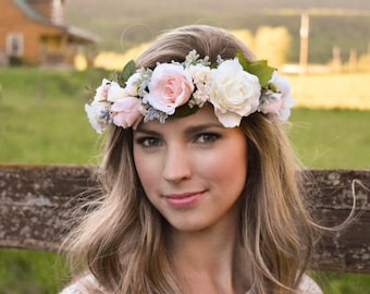 Blush flower crown Blush pink and ivory flower crown with greenery Wedding floral crown Pink floral crown Wedding hair wreath