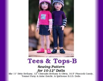 """Tees & Tops-B--PDF Sewing Pattern for 10-12"""" Dolls like Kish's Bitty Bethany, Plusczok's Candy, Iplehouse Elin, or Tonner Patsy"""