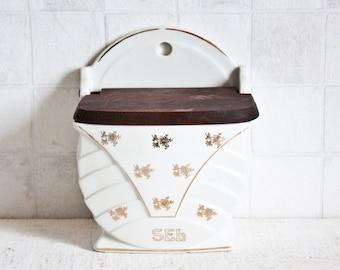 Lovely Vintage French Ceramic Box || Shabby Chic Gold Floral Decor Box - Salt Box - Antique Country Kitchen Box - Kitchen Decor