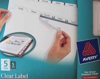 Avery Clear Label Index Maker Dividers - 5 Tabs, 5 Sets - Avery #11436 - NEW