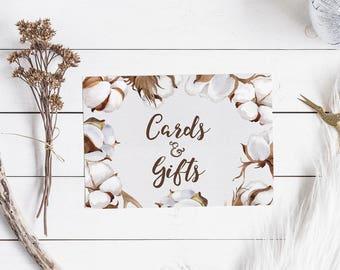 Cards & Gifts Printable Sign - Rustic Wedding Decor - Farmhouse Wedding