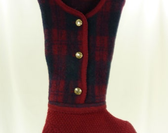 Christmas Stocking Boiled Wool Felt Red Green Black Plaid Faux Gold Buttons Pendleton OOAK Recycled Repurposed Upcycled 927