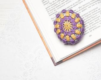 Crochet Covered Stone, Purple Yellow, Lace Stone, Paperweight, Home Decor, Beach decor, Wedding Decor