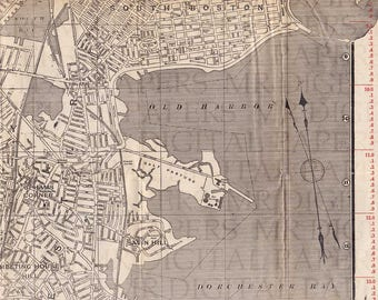 Antique Map / Antique Book Page / Boston Map / Map Print / Digital Instant Download / Antique Tourist Map / Old Map / Old Boston Map