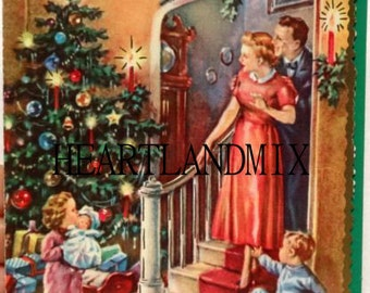 vintage 1940s christmas morning image - 1940s Christmas Decorations