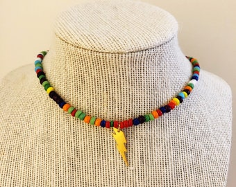 Rainbow Beaded Lightning Choker