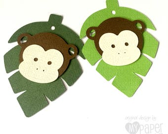 Little Monkey Gift Tags - Green Leaf gift tags. Baby shower, first birthday, party favors, safari, jungle theme. Favor tags. Cheeky monkey.