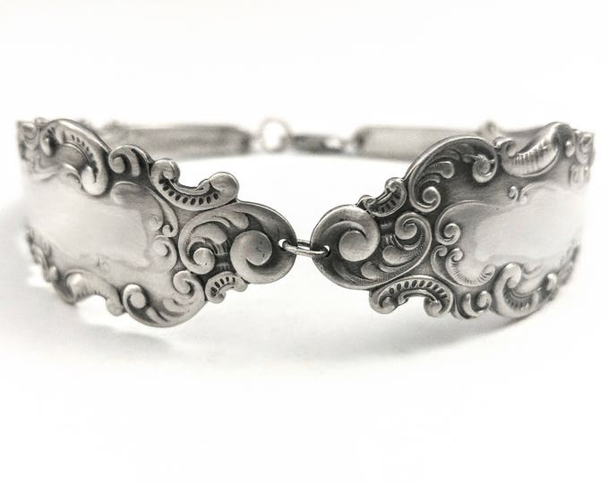 Vintage Victorian Bracelet, Rococo Bracelet, Sterling Silver Spoon, Antique Gorham 1893 Luxembourg, Handmade, Gift for Her, Size 8.5 (7034)