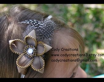 zipper flower headband