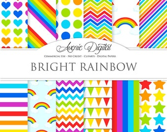 Rainbow Digital Paper. Scrapbook Backgrounds. Sky patterns Commercial Use. multicolor stars polka dots stripes