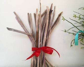 Skinny Driftwod Bundle - 22 Straight & Shaped Driftwood Twigs Natural Driftwood Branches Bulk