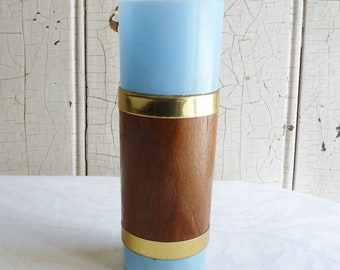 Mid-Century Light Blue Tiki Glass, Wrapped in Wood with Goldtone Trim - 1960s Libbey Tumbler, Like Siesta Ware - Vintage Barware