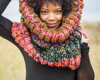 Knit Scarf, Knit Cowl, Hood, Colorful Scarf, Knit Infinity Scarf, Chunky Circle Scarf, Chunky Scarf, Bulky Scarf, Knit Circle Scarf, Cowl
