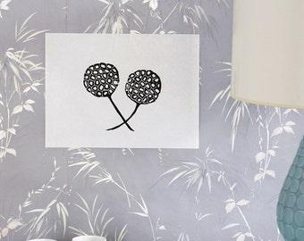 "sweetgum pods linoleum block print - 9"" x 12"" wall art"