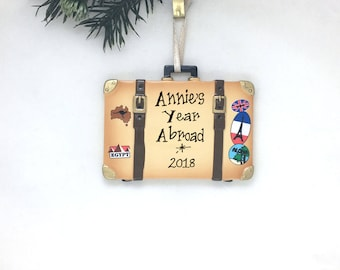 Travel Case Personalized Christmas Ornament / Suitcase / International Traveler / Bucket List Trip / Hand Personalized