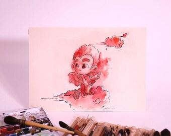 Kevin & Alex - Alex angel 02 - original ink and watercolor illustration - 2005