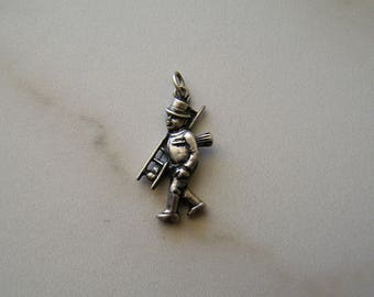 Vintage Sterling Silver 800, Chimney Sweep with Ladder Working Man Pendant Charm