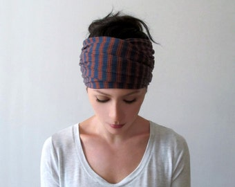 STRIPED Headband, Ribbed Knit Headband, Blue and Burnt Orange Headband, Retro Head Scarf, Extra Wide Headbands for Women