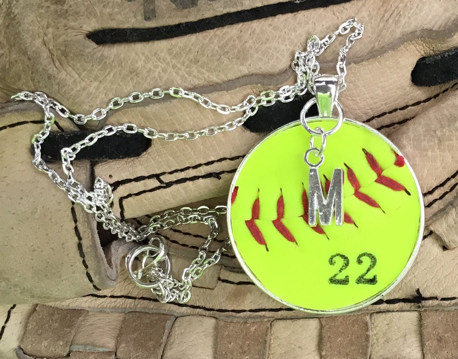 necklace charm baseball softball pin team stamped pendant hand softballball