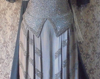 Silver beaded  dress vintage 1940's gunmetal gray rayon crepe small from vintage opulence on Etsy