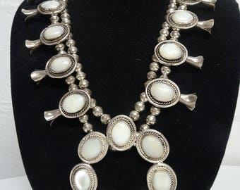 Squash Blossom Necklace With Mother Of Pearl - FREE SHIPPING