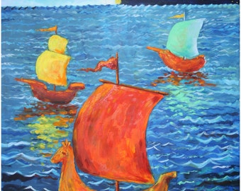 Ship fairy tale.Original painting, oil on canvas. (24x30 inches)