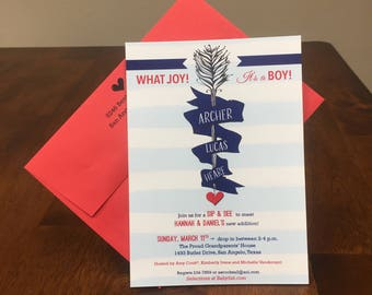 Qty. 25 Boy Baby Shower Invitations Arrow Archer Archery Baby Shower Invitations Boy Arrow Baby Shower Invitations with Red Envelopes