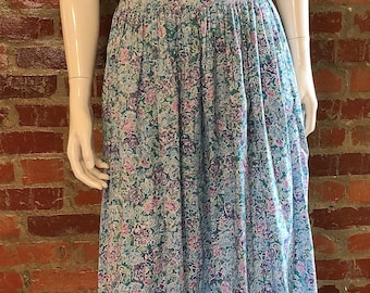 Vintage 80's Blue Floral Cotton Laura Ashley Dress