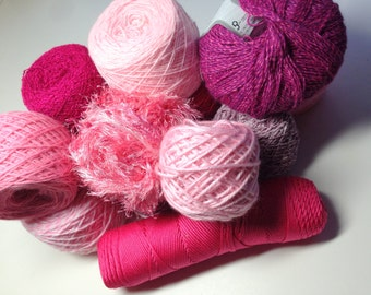 Pretty in Pink Valentines Collection of Mystery Yarn, Crochet Supplies, Knitting Yarn