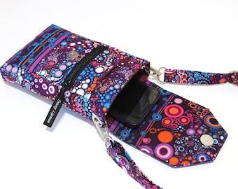 Handy-Handtasche - kleine Umhängetasche - Handy - Crossbody Iphone Geldbörse - lila Smartphone Portemonnaie - Handy-Tasche - Telefon