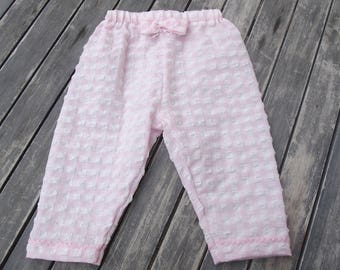 pants for little girl in pink and white gingham