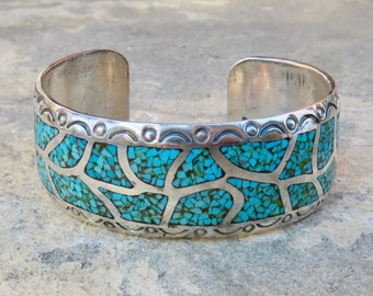 Turquoise and Silver Chip Inlay Cuff,Native American Turquoise Jewelry,Vintage Navajo Signed Turquoise Bracelet,Sterling and Turquoise Cuff