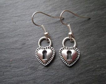 Heart Padlock Earrings, Love, Lock, Valentines Day Gift