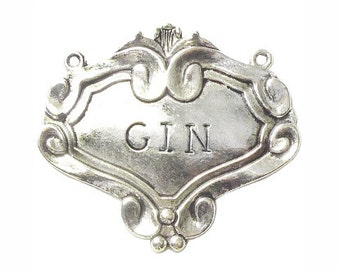 BULK 5 Silver Gin Decanter Label 49x55mm by TIJC SP0661B